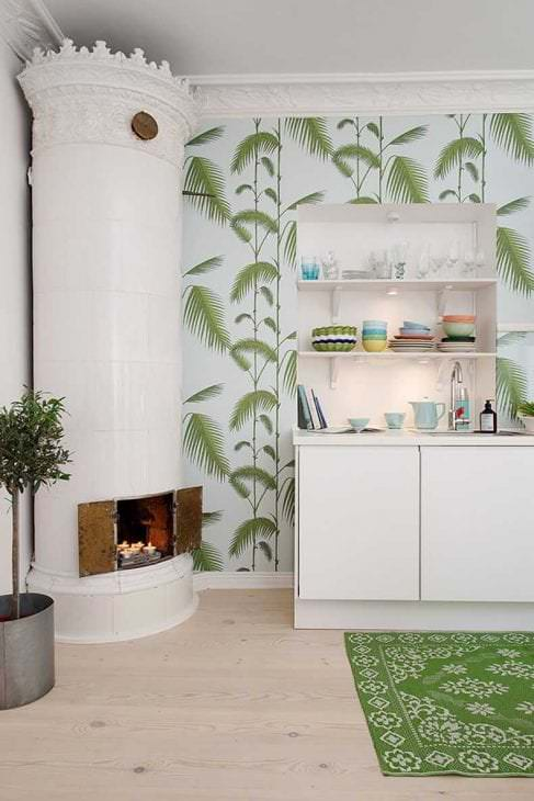яркий дизайн спальни в шведском стиле