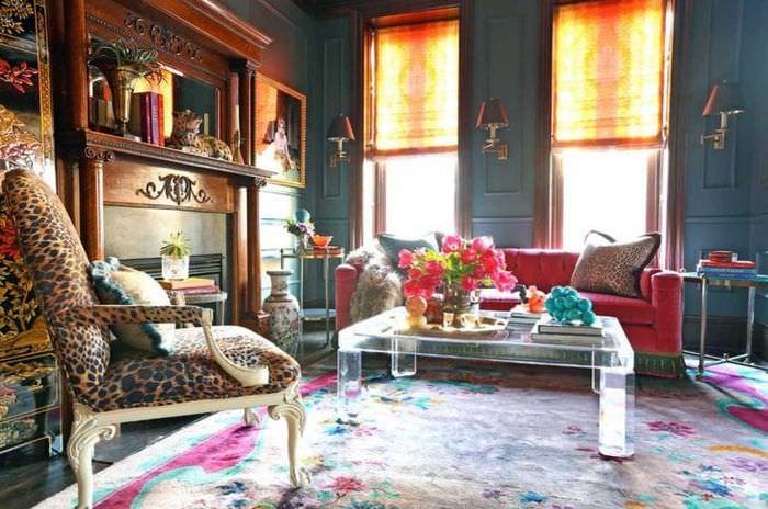 красивый стиль гостиной в стиле бохо