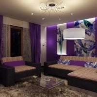 красивый дизайн спальни в фиолетовом цвете картинка