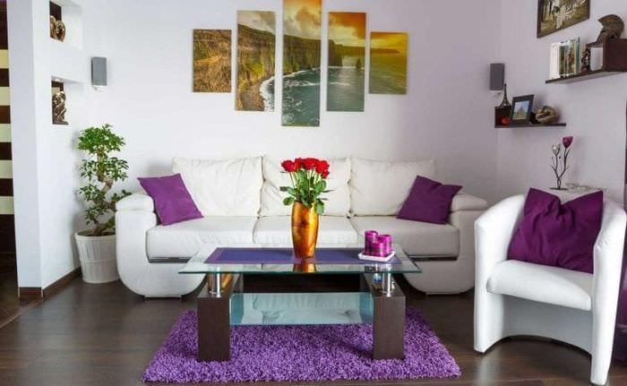 красивый стиль прихожей в фиолетовом цвете