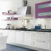яркий дизайн кухни в фиолетовом оттенке фото