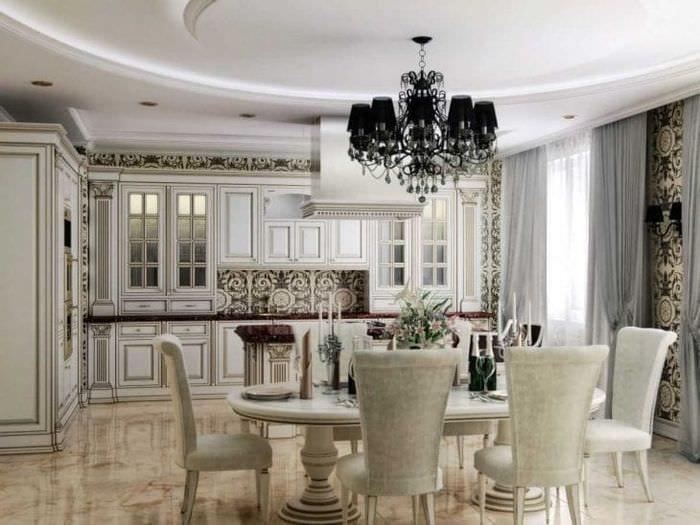 яркий дизайн элитной кухни в стиле классика
