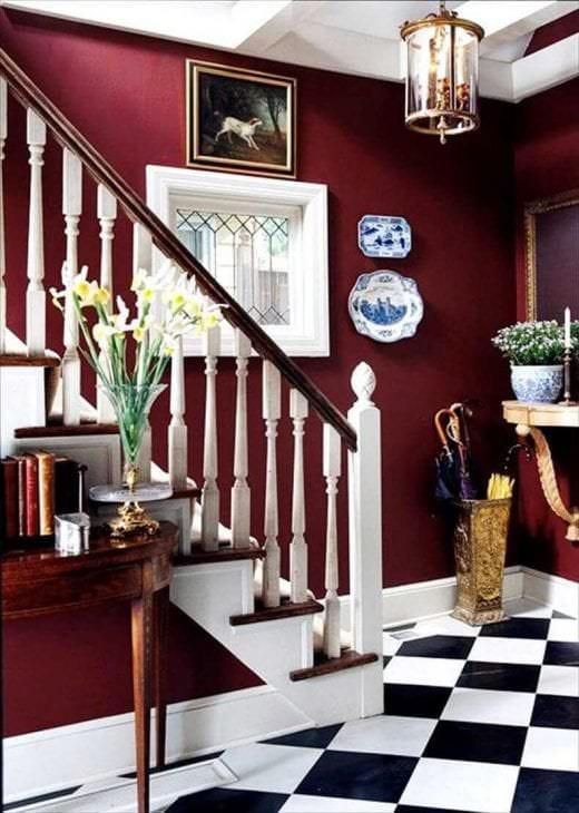 красивый бордовый цвет в интерьере кухни