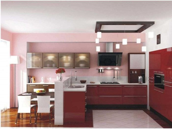 насыщенный бордовый цвет в декоре гостиной