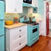 небольшой холодильник в стиле кухни в ярком цвете фото