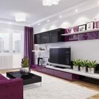 необычный стиль гостиной в фиолетовом цвете картинка