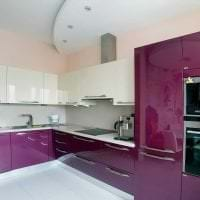 современный стиль кухни в фиолетовом оттенке картинка
