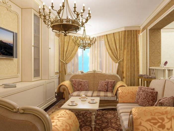 красивый стиль гостиной в стиле барокко