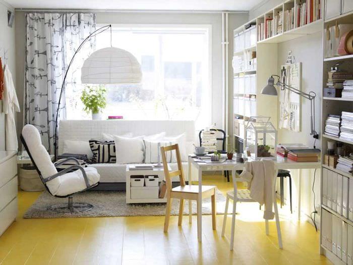 необычный дизайн спальни в шведском стиле