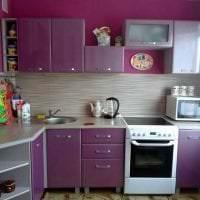 красивый дизайн кухни в фиолетовом цвете фото