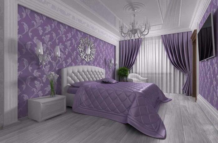 необычный интерьер кухни в фиолетовом цвете