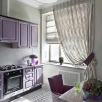 необычный дизайн кухни в фиолетовом оттенке фото