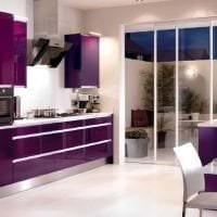 яркий интерьер кухни в фиолетовом цвете картинка