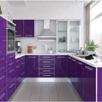 красивый стиль кухни в фиолетовом цвете картинка
