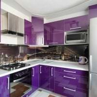 светлый дизайн кухни в фиолетовом цвете фото