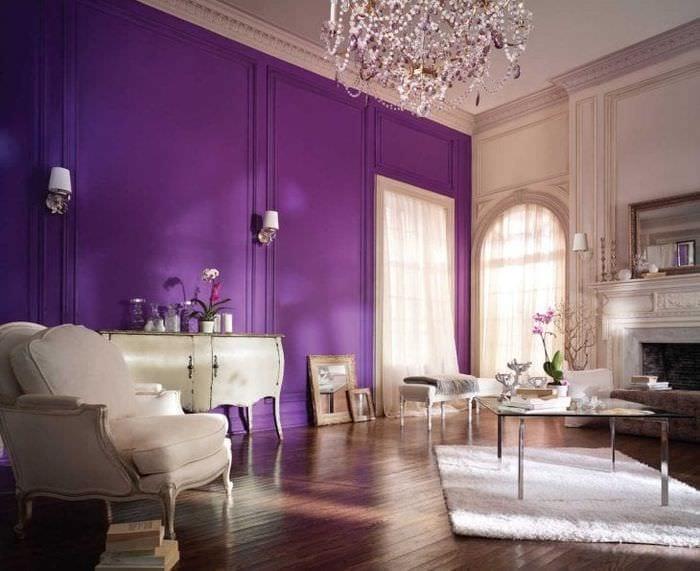 красивый дизайн прихожей в фиолетовом цвете