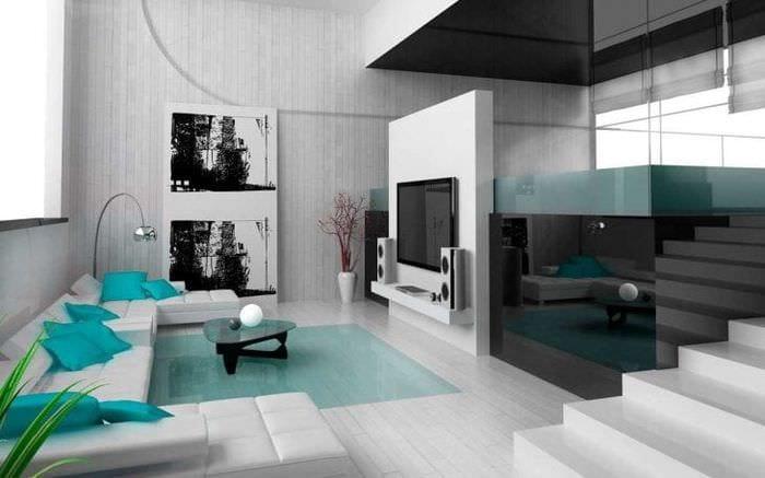 отражающее стекло в интерьере гостиной