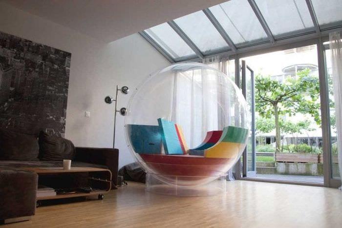 прозрачное стекло в стиле спальни