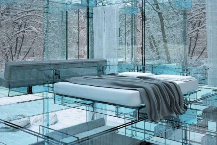 прозрачное стекло в декоре кухни