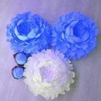 синие бумажные цветы в дизайне праздничного зала картинка