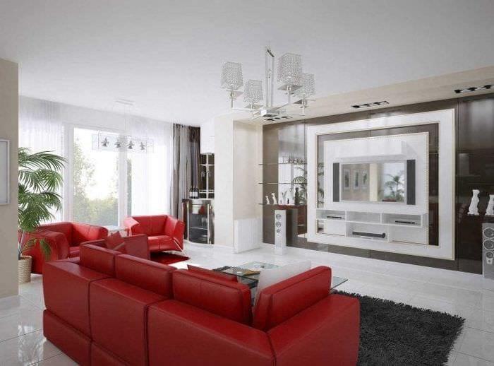 комбинирование красного с другими цветами в интерьере дома