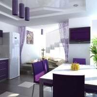 комбинирование сиреневого цвета в интерьере кухни фото