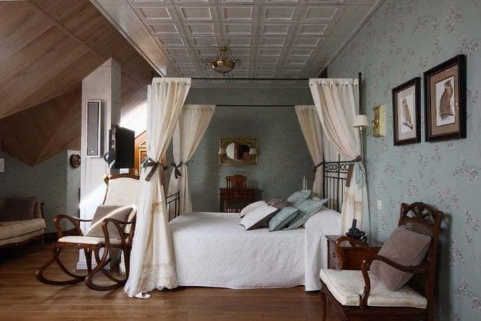 красивый дизайн спальни в стиле кантри