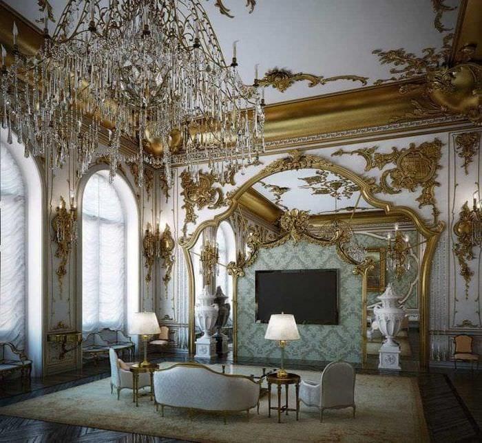 красивый интерьер гостиной в стиле рокко