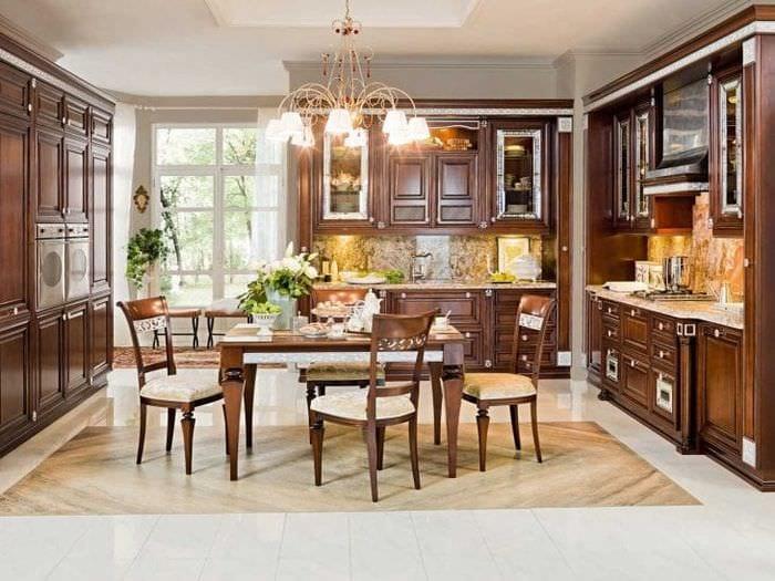 красивый дизайн элитной кухни в стиле классика