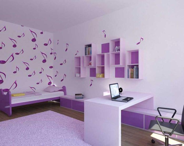 красивый декор кухни в фиолетовом цвете