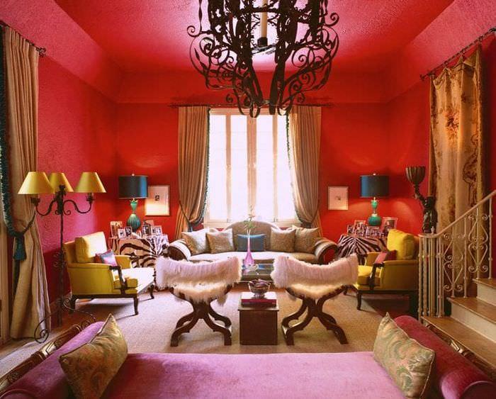 красивый интерьер гостиной в стиле бохо