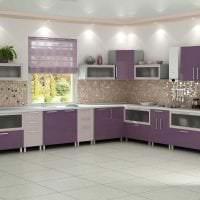 современный дизайн кухни в фиолетовом оттенке картинка