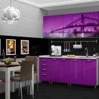 красивый стиль кухни в фиолетовом цвете фото