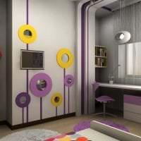 светлый дизайн коридора в фиолетовом цвете фото