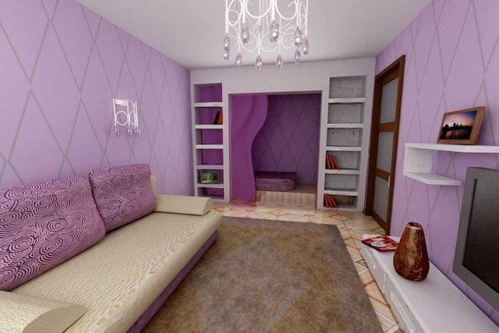 светлый интерьер прихожей в фиолетовом цвете