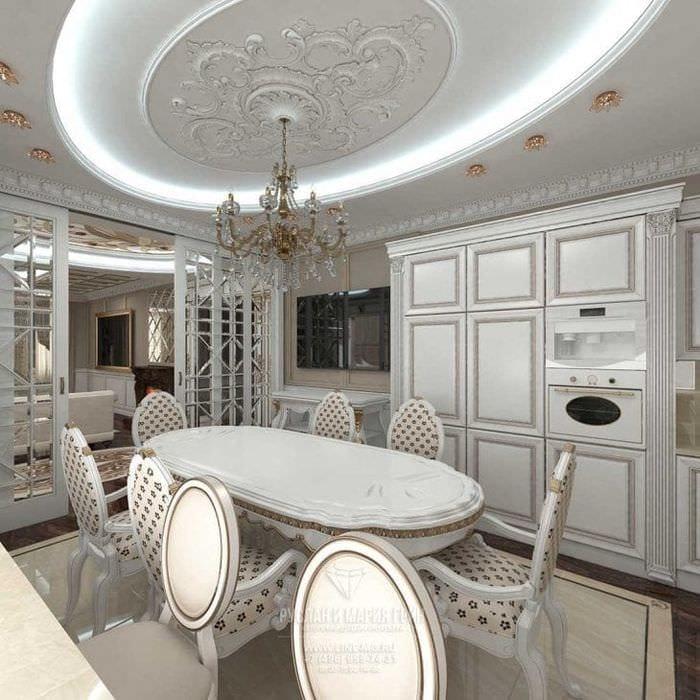 светлый интерьер элитной кухни в стиле арт деко