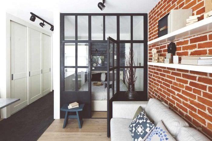 красивый декор коридора в стиле лофт