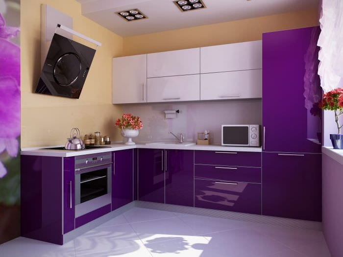 красивый стиль кухни в фиолетовом оттенке