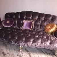 светлый фиолетовый диван в интерьере спальни фото
