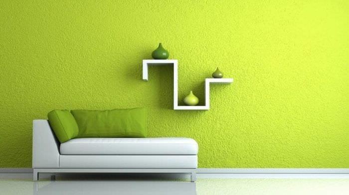 необычный фисташковый цвет в декоре спальни