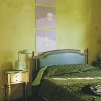 светлый фисташковый цвет в интерьере спальни фото