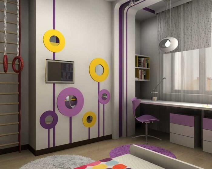 яркий дизайн спальни в фиолетовом цвете