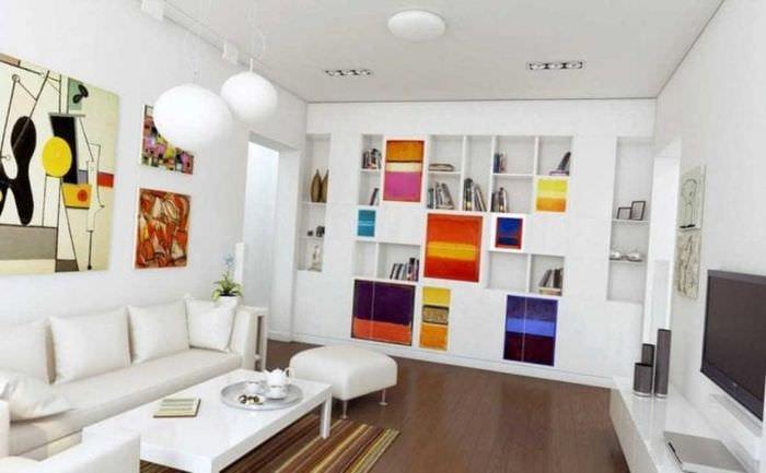 красивый интерьер гостиной в стиле авангард