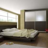 светлый интерьер спальни в цвете венге фото