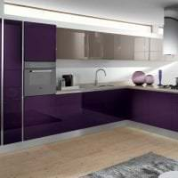 необычный декор кухни в фиолетовом оттенке картинка