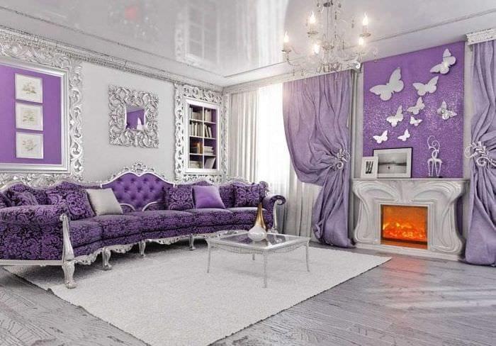 светлый фиолетовый диван в декоре спальни