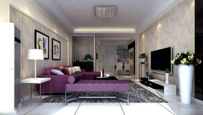 темный фиолетовый диван в стиле дома