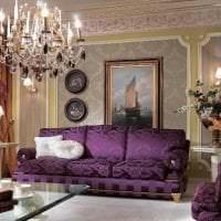 темный фиолетовый диван в фасаде квартиры фото
