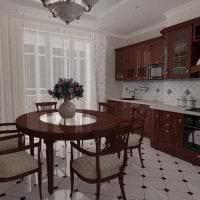 темный стиль элитной кухни в стиле классика картинка
