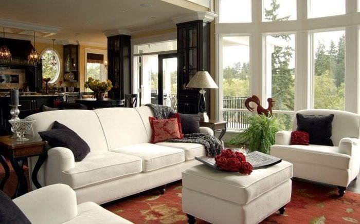 уютный красивый дизайн гостиной